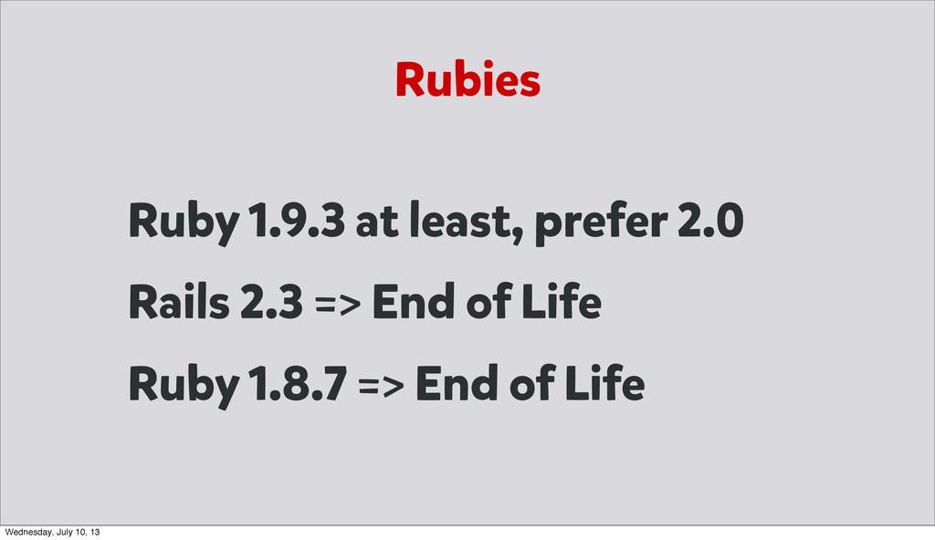 Rubies Ruby 1.9.3 at least, prefer 2.0 Rails 2....