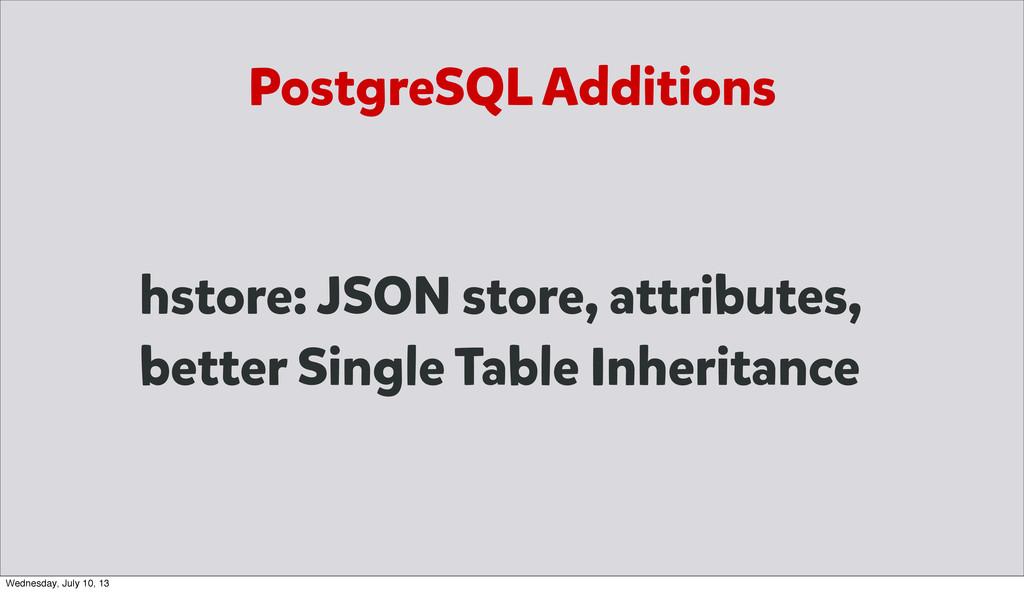 PostgreSQL Additions hstore: JSON store, attrib...
