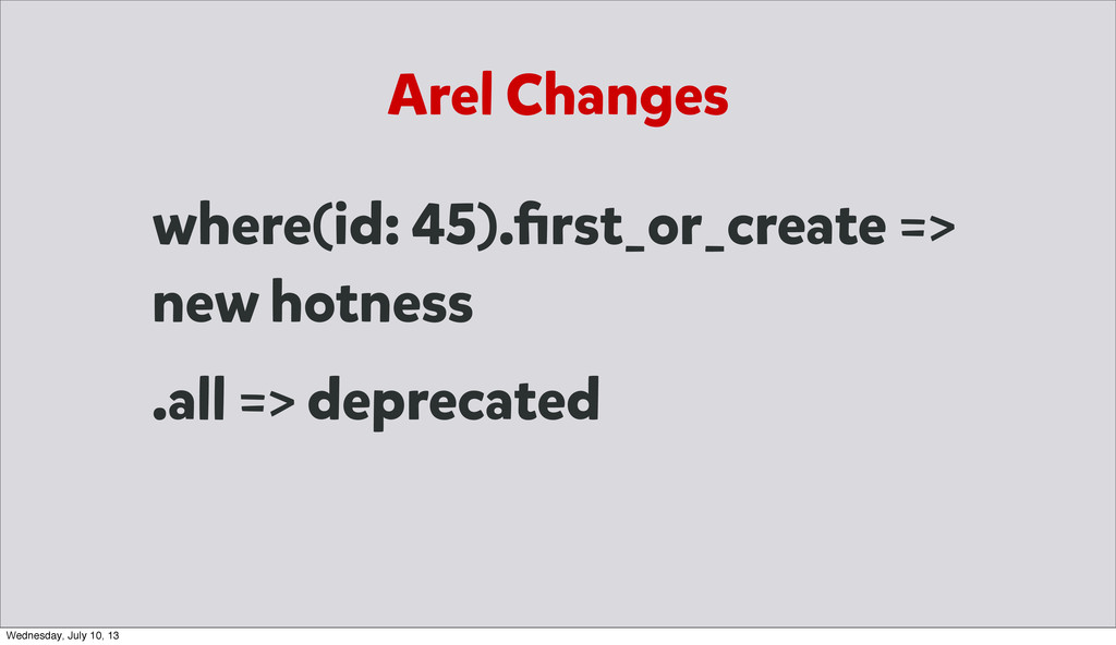 Arel Changes where(id: 45).first_or_create => ne...