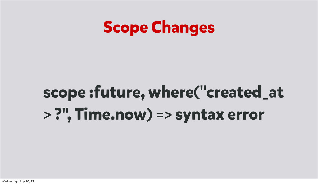 "Scope Changes scope :future, where(""created_at ..."
