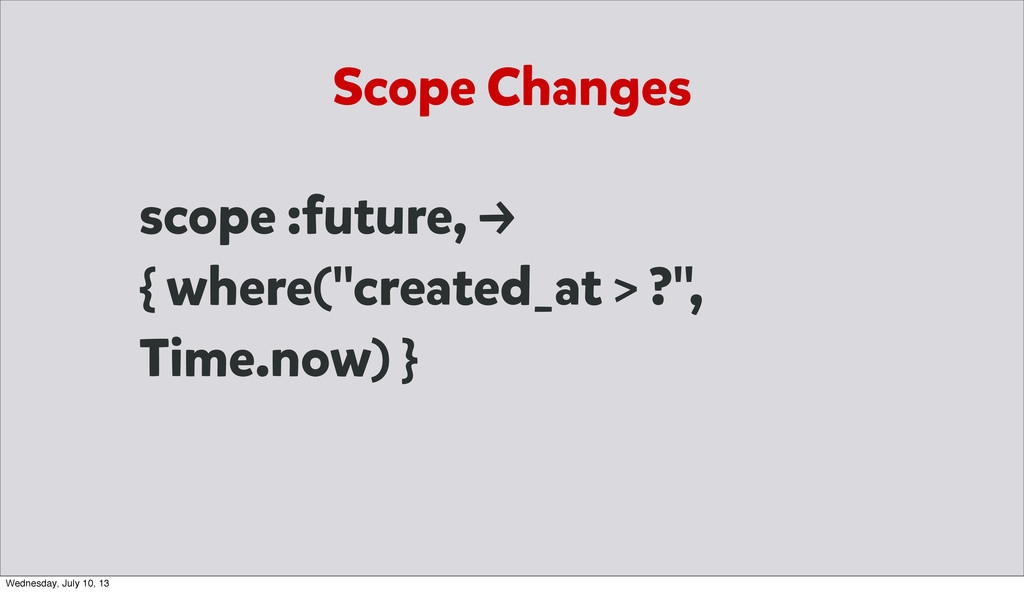 "Scope Changes scope :future, → { where(""created..."
