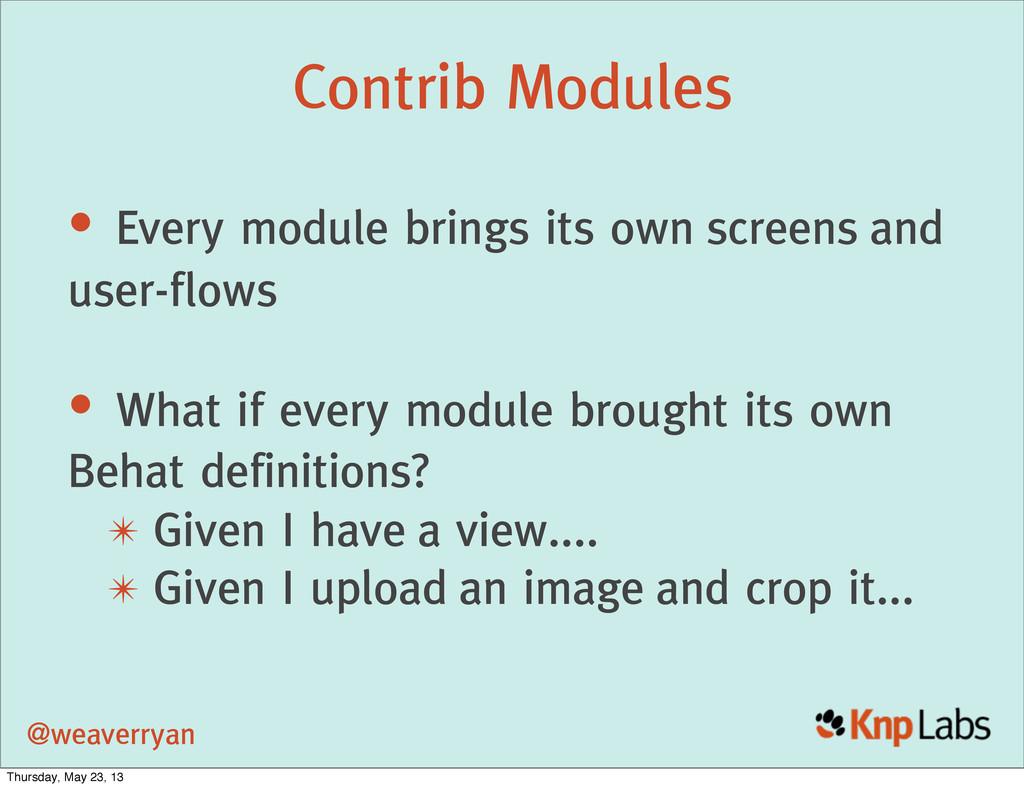 @weaverryan Contrib Modules • Every module brin...