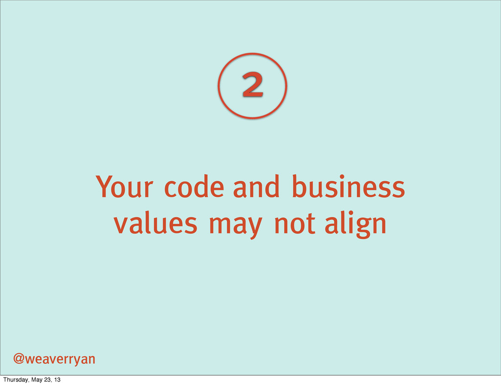 2 Your code and business values may not align @...