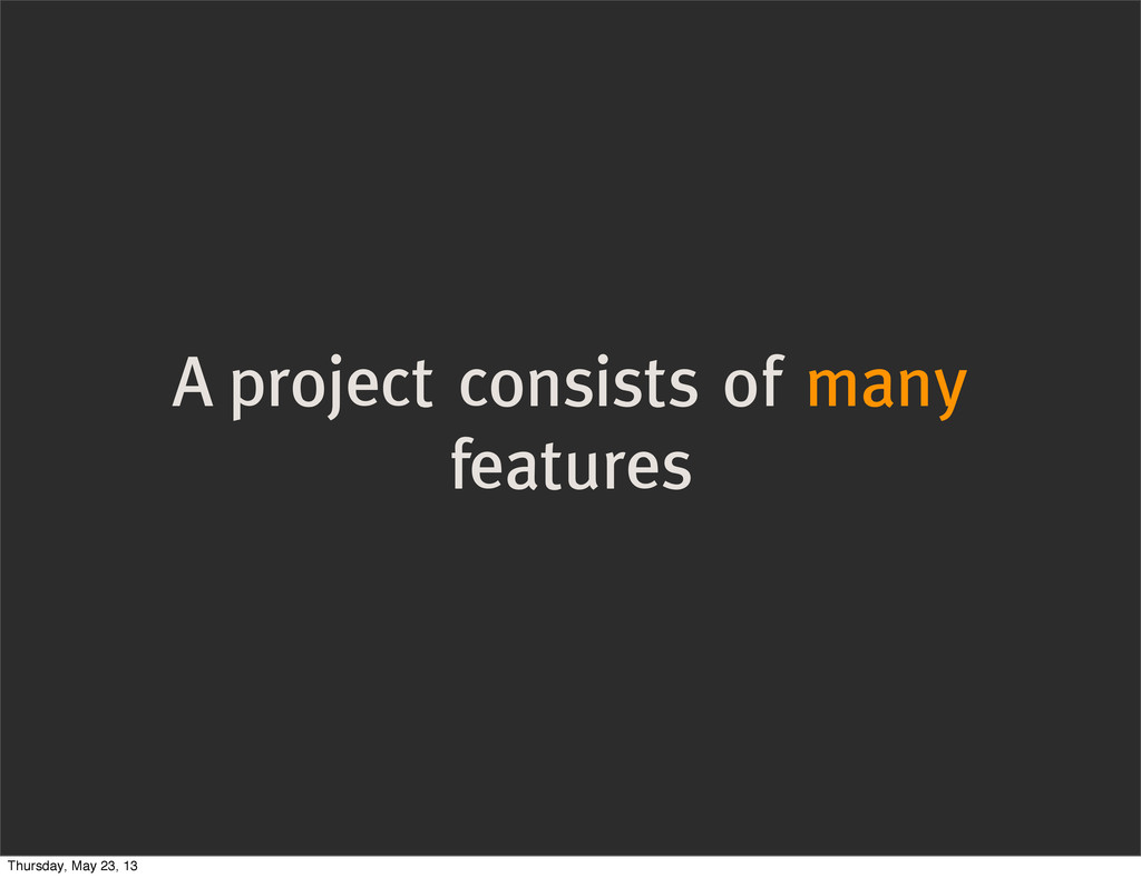 A project consists of many features Thursday, M...