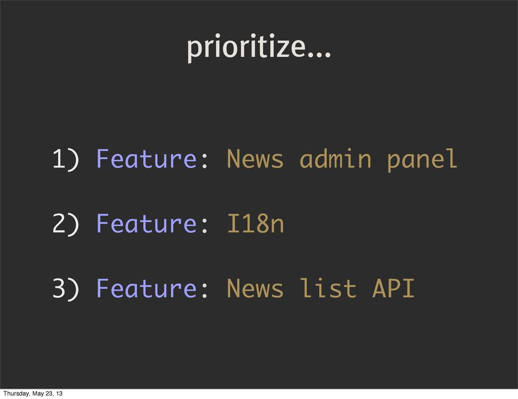 prioritize... 1) Feature: News admin panel 2) F...
