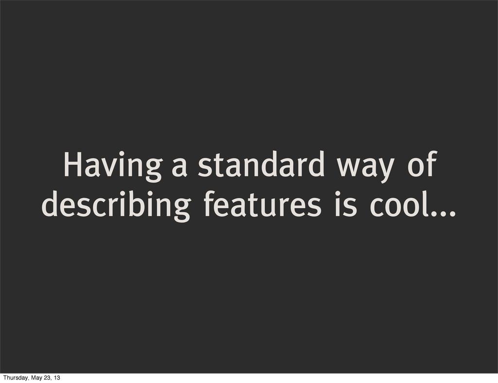 Having a standard way of describing features is...