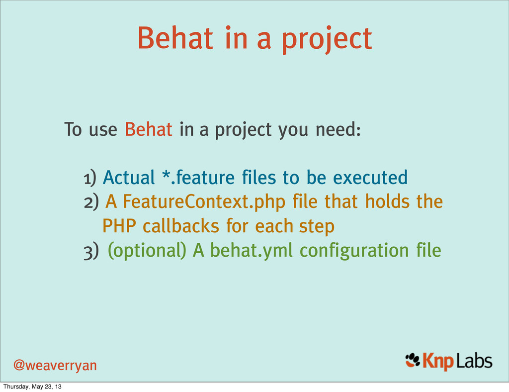 @weaverryan Behat in a project To use Behat in ...