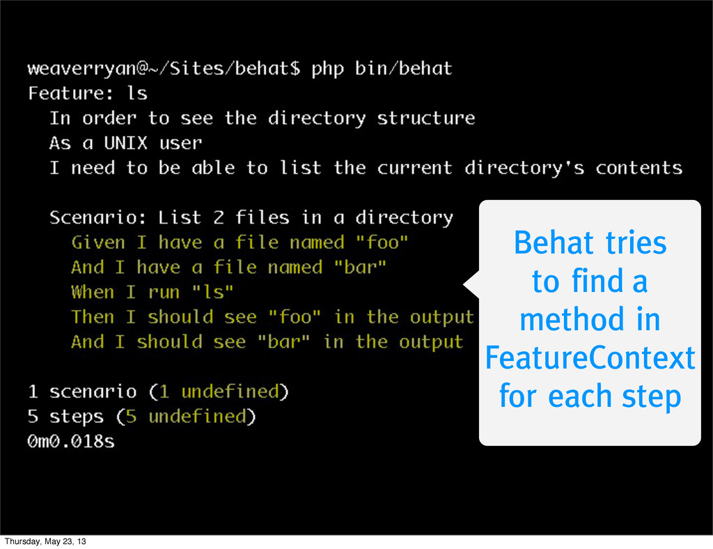 Behat tries to find a method in FeatureContext ...