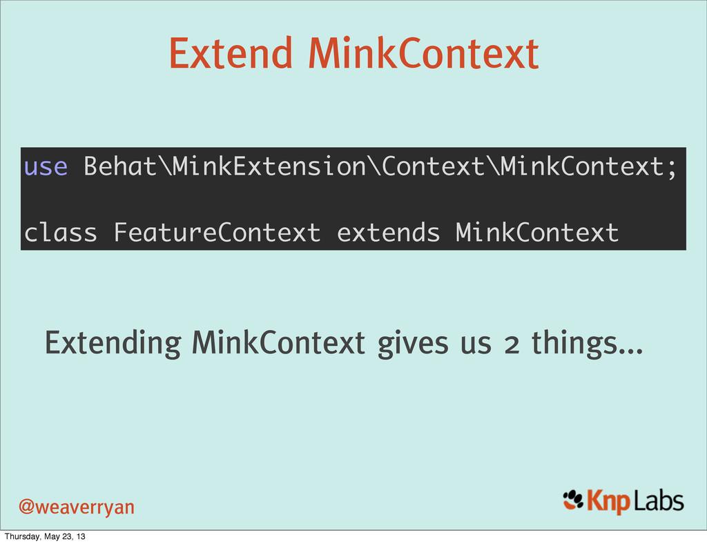 @weaverryan Extend MinkContext use Behat\MinkEx...