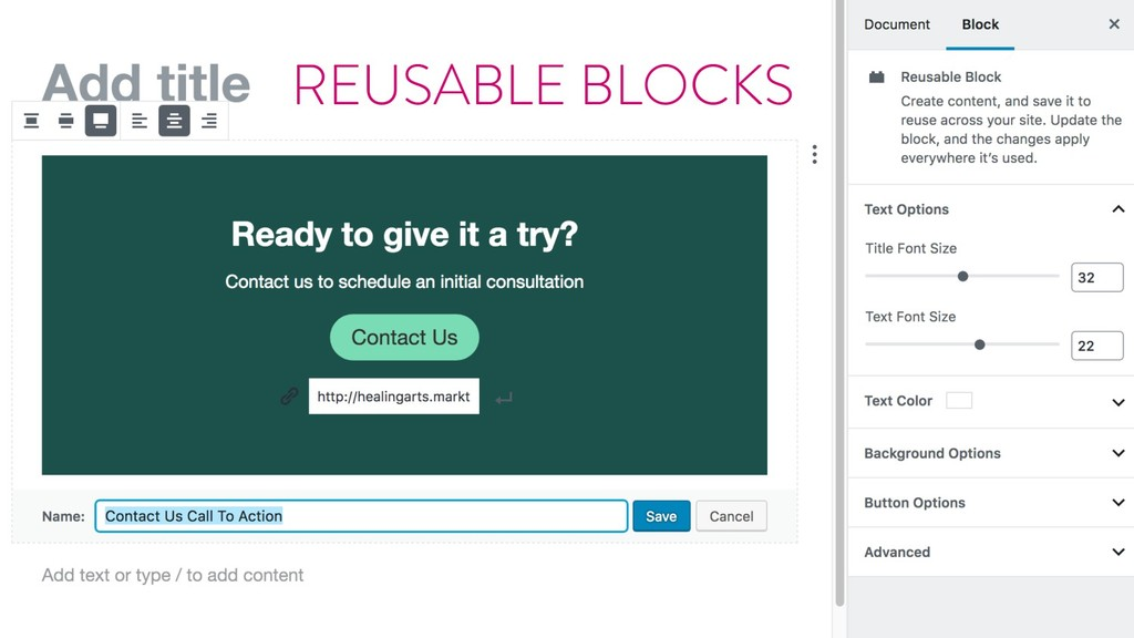 @marktimemedia Reusable blocks REUSABLE BLOCKS