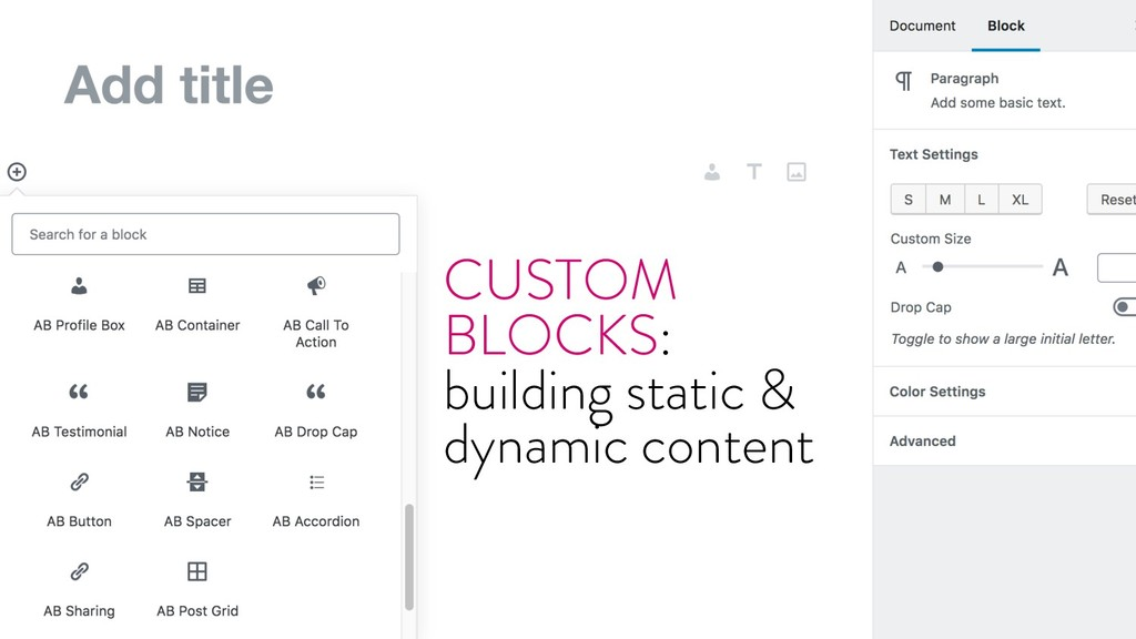 @marktimemedia CUSTOM BLOCKS: building static &...