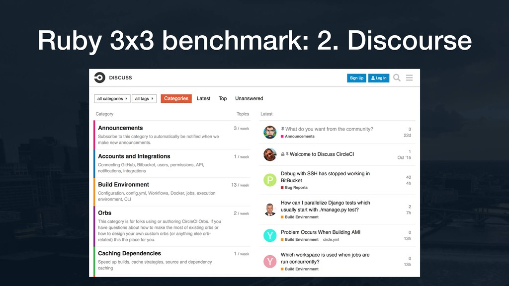 Ruby 3x3 benchmark: 2. Discourse
