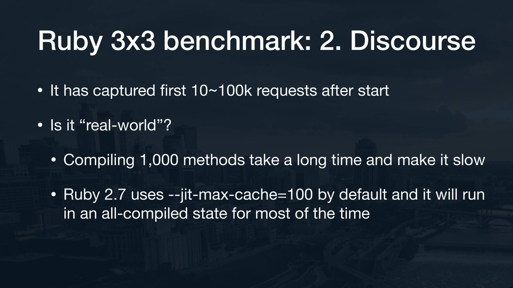 Ruby 3x3 benchmark: 2. Discourse • It has captu...
