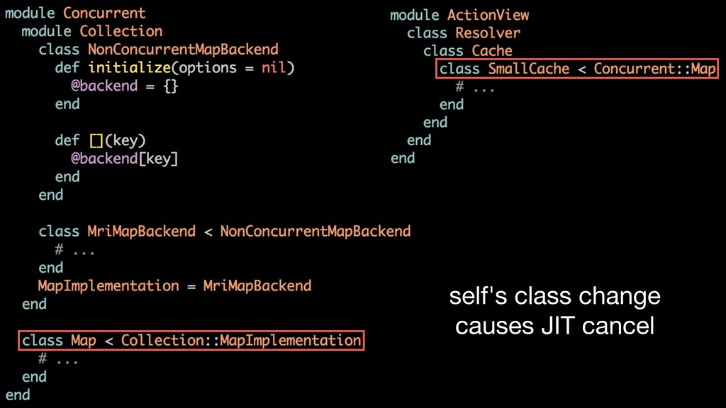 self's class change causes JIT cancel