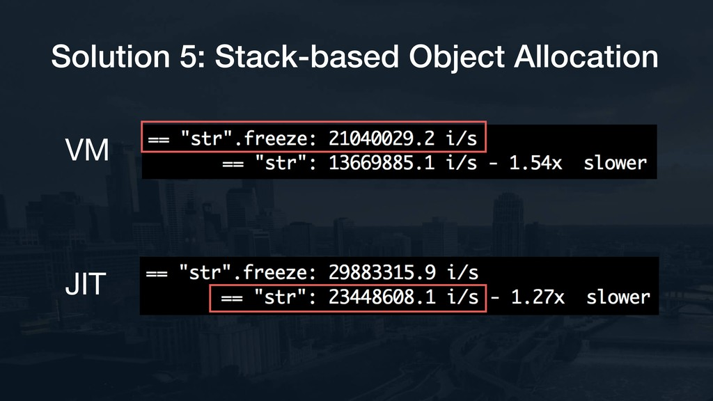 Solution 5: Stack-based Object Allocation VM JIT