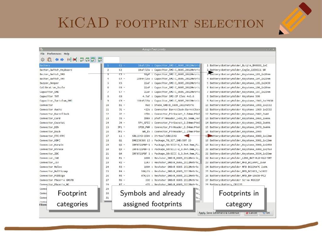 KiCAD footprint selection Symbols and already a...