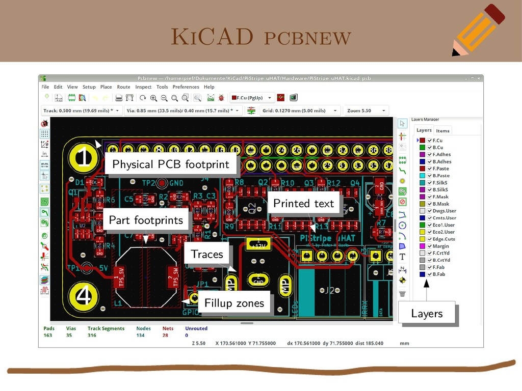 KiCAD pcbnew Part footprints Part footprints Tr...
