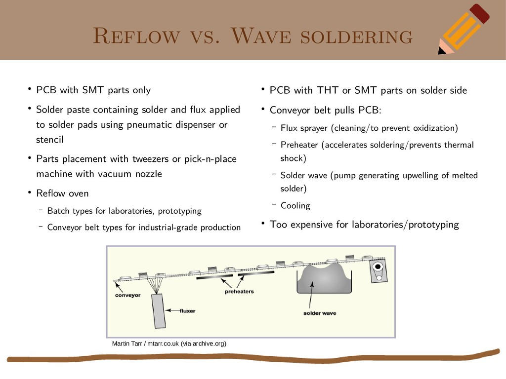 Reflow vs. Wave soldering ● PCB with SMT parts ...