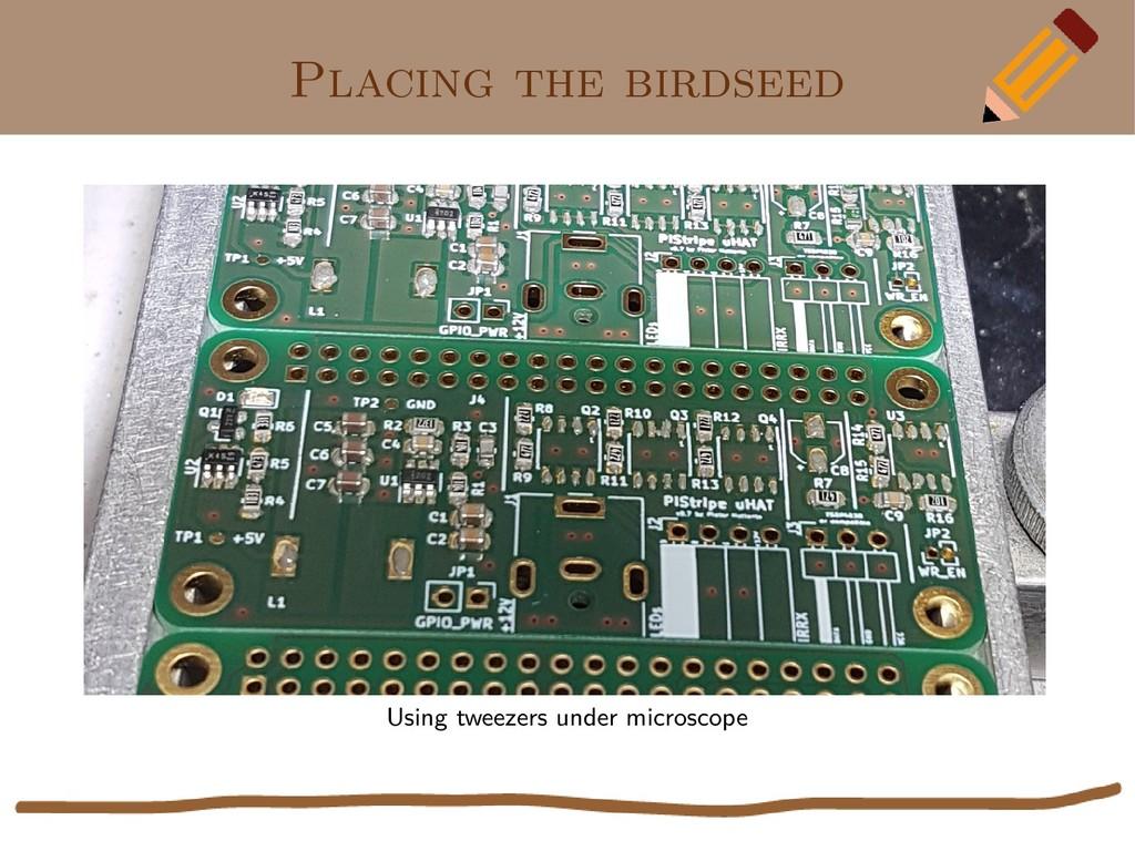 Placing the birdseed Using tweezers under micro...
