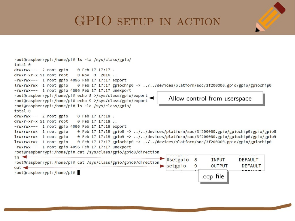 GPIO setup in action Allow control from userspa...