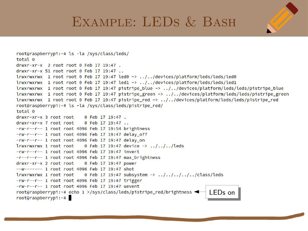 Example: LEDs & Bash LEDs on LEDs on
