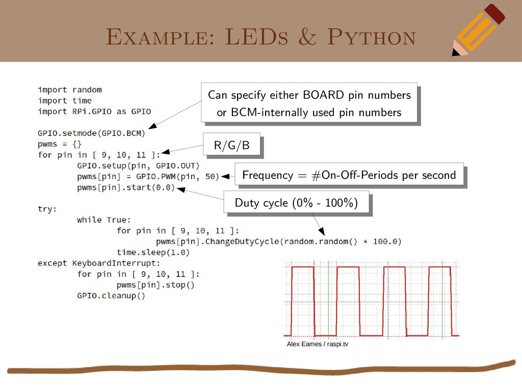 Example: LEDs & Python Can specify either BOARD...