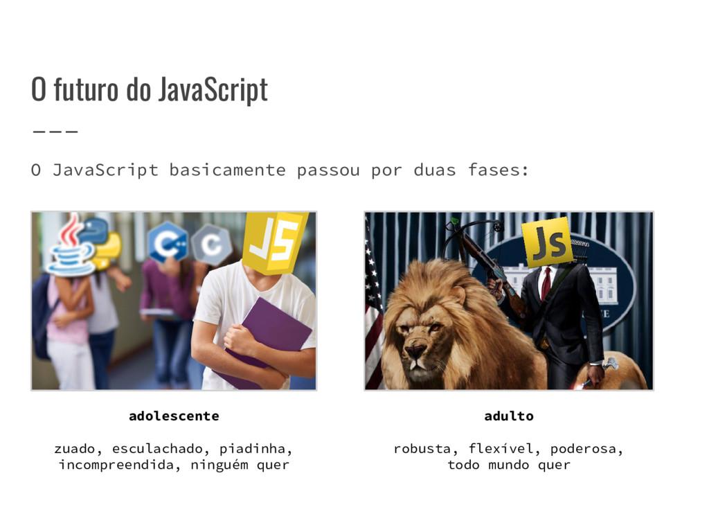 O futuro do JavaScript O JavaScript basicamente...