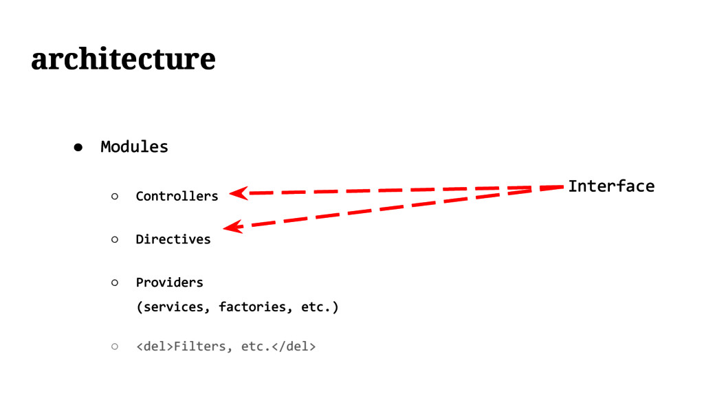 Interface ● Modules ○ Controllers ○ Directives ...