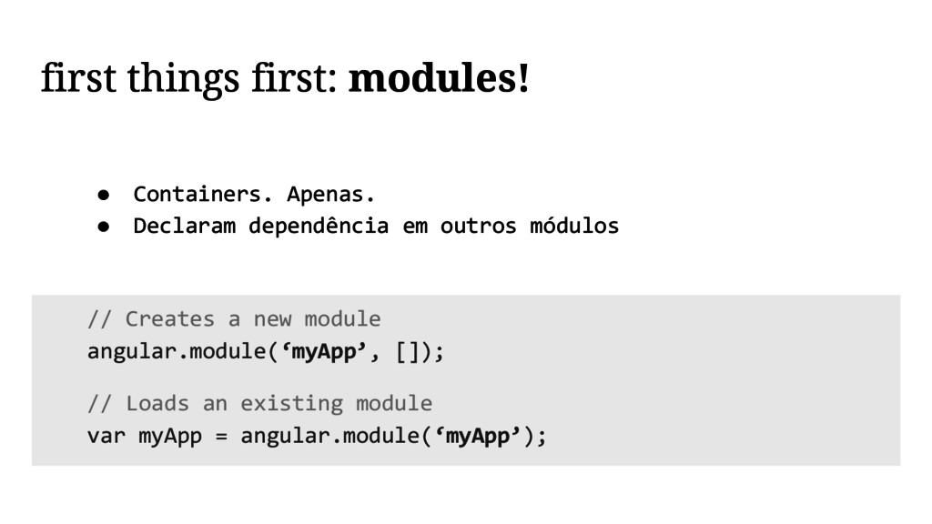 first things first: modules! // Creates a new m...
