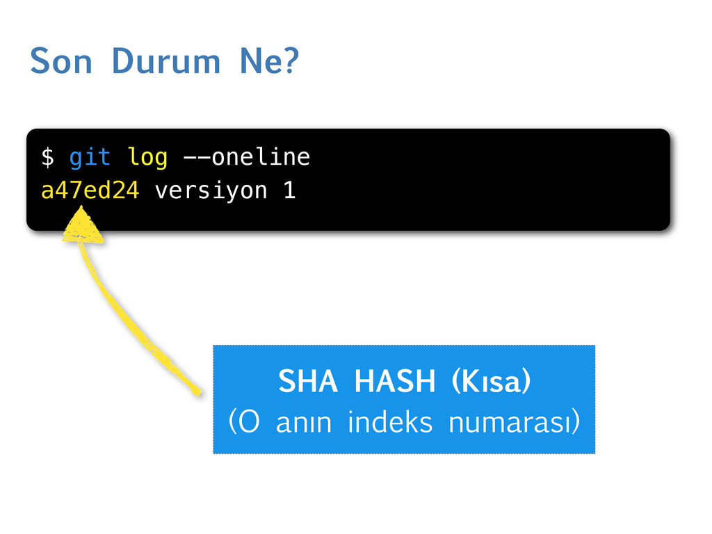 Son Durum Ne? $ git log --oneline a47ed24 versi...