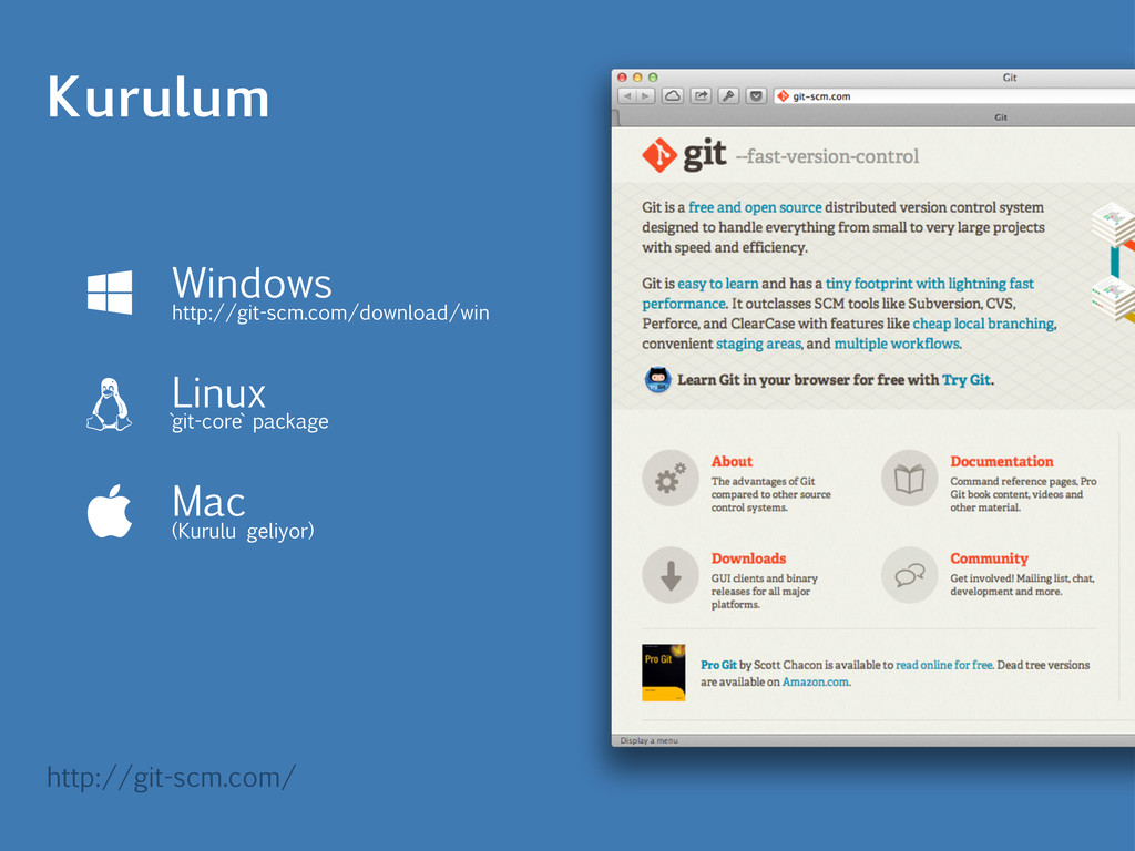 Kurulum Windows http://git-scm.com/download/win...