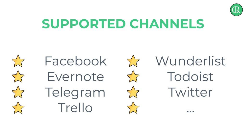 Facebook Evernote Telegram Trello SUPPORTED CHA...