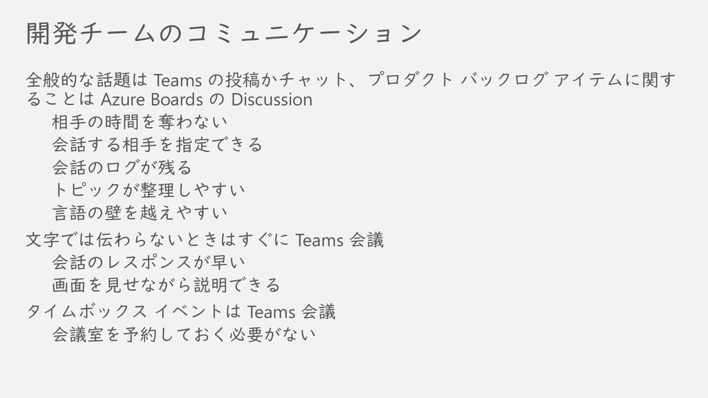開発チームのコミュニケーション 全般的な話題は Teams の投稿かチャット、プロダクト バッ...
