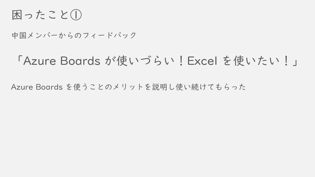 困ったこと① 中国メンバーからのフィードバック 「Azure Boards が使いづらい!Ex...