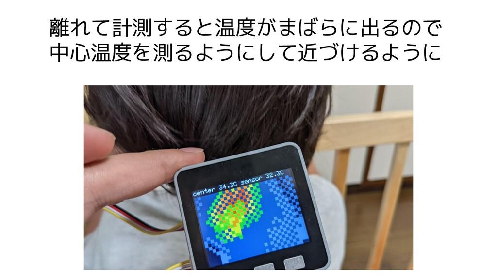 離れて計測すると温度がまばらに出るので 中心温度を測るようにして近づけるように