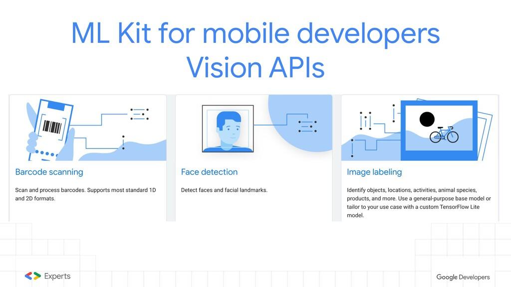 ML Kit for mobile developers Vision APIs