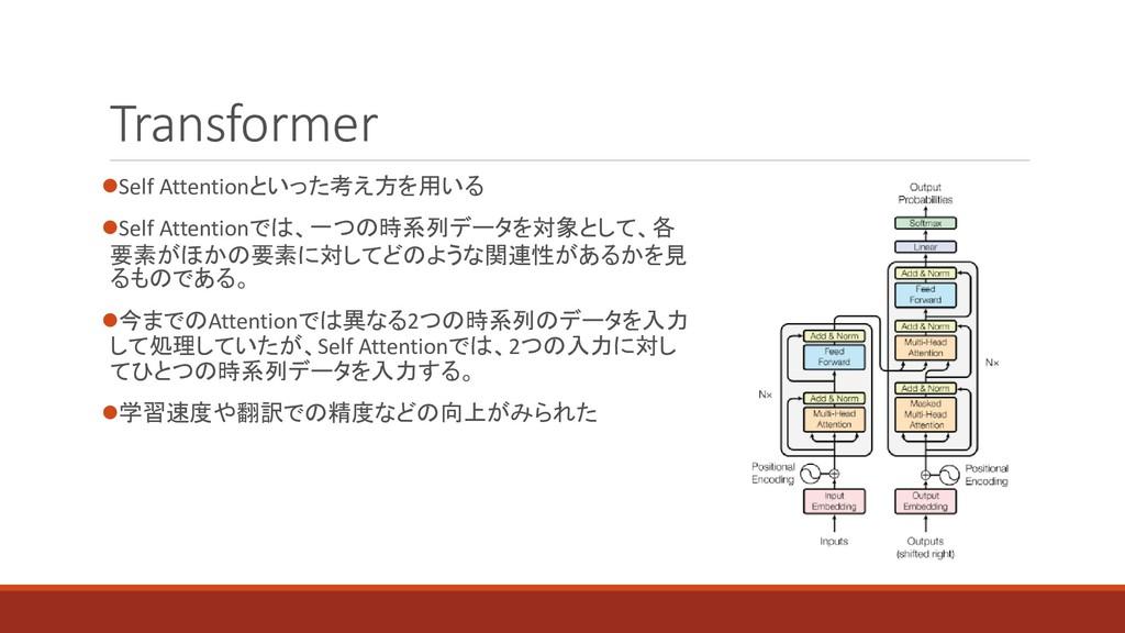 Transformer ⚫Self Attentionといった考え方を用いる ⚫Self At...