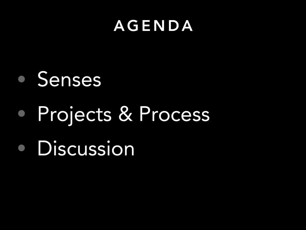 A G E N D A • Senses • Projects & Process • Dis...