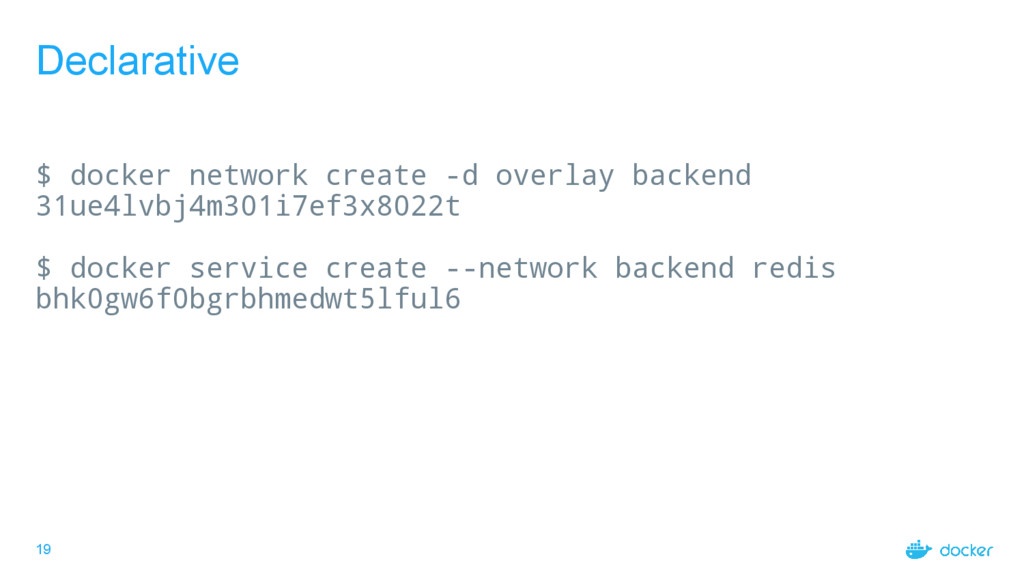 19 Declarative $ docker network create -d overl...