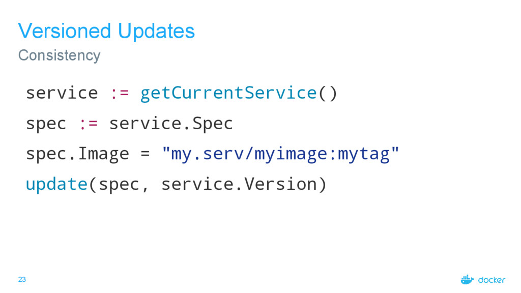 23 Versioned Updates Consistency service := get...