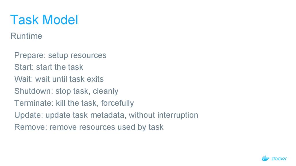 Task Model Prepare: setup resources Start: star...