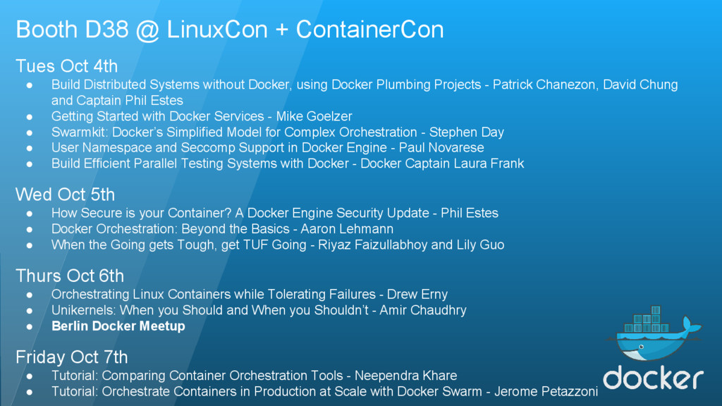 Booth D38 @ LinuxCon + ContainerCon Tues Oct 4t...