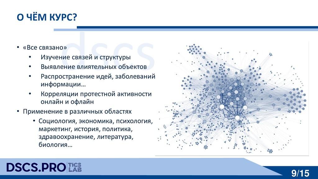 dscs.pro 9/15 О ЧЁМ КУРС? • «Все связано» • Изу...
