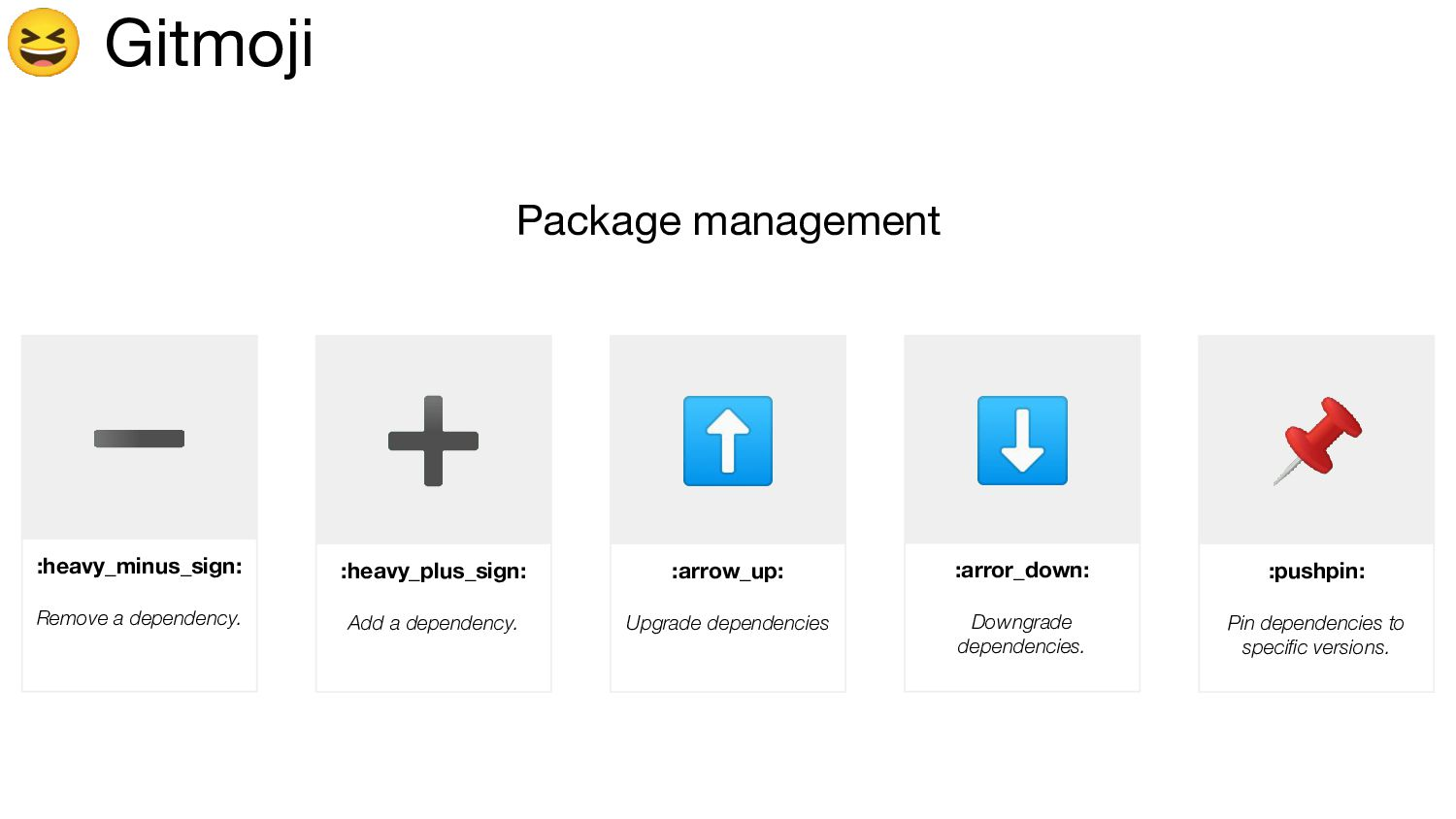 Gitmoji Package management