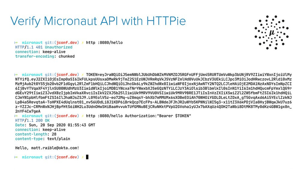 Verify Micronaut API with HTTPie