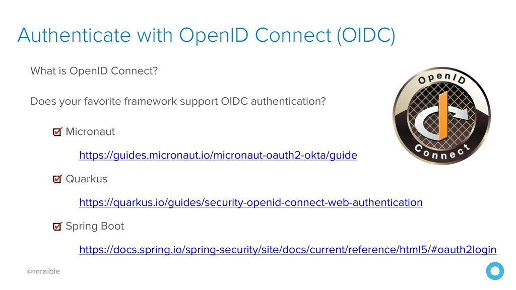 @mraible Authenticate with OpenID Connect (OIDC...