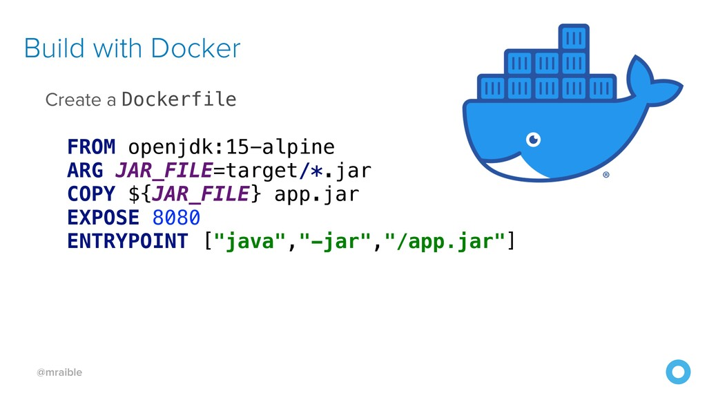 @mraible Build with Docker Create a Dockerfile ...