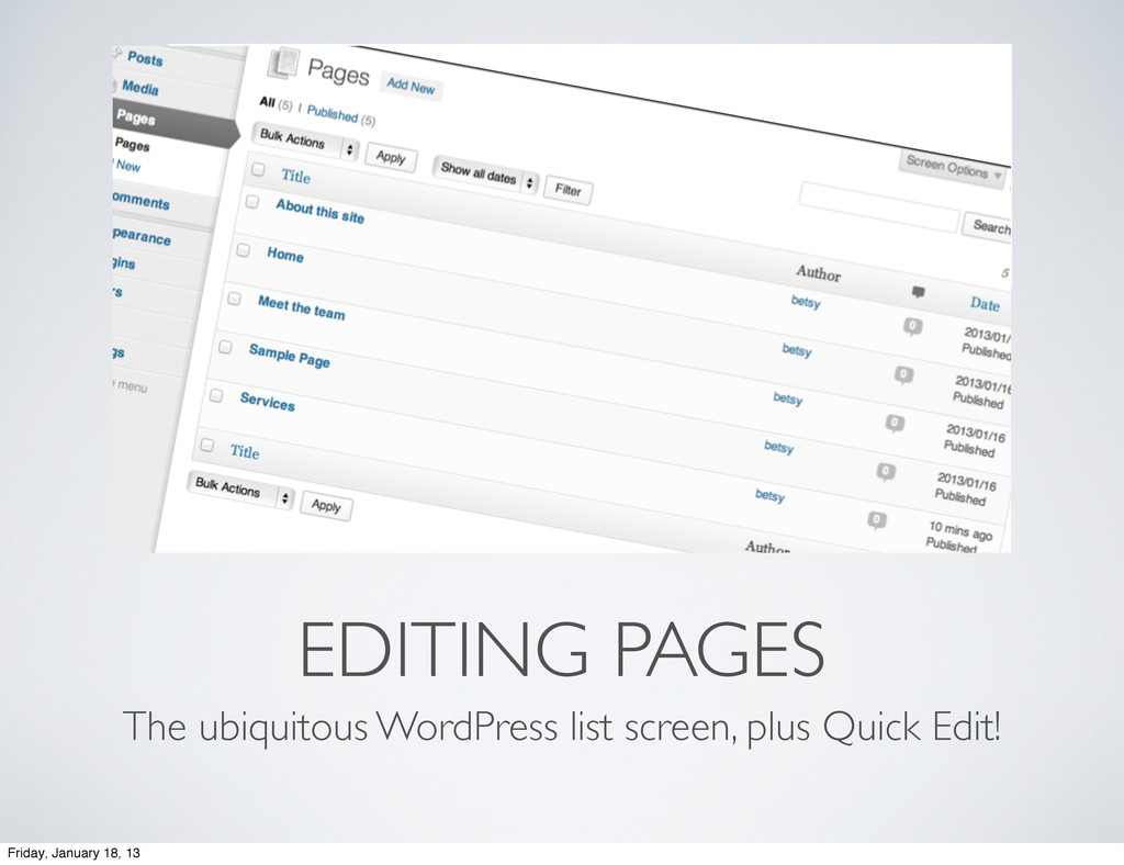 EDITING PAGES The ubiquitous WordPress list scr...
