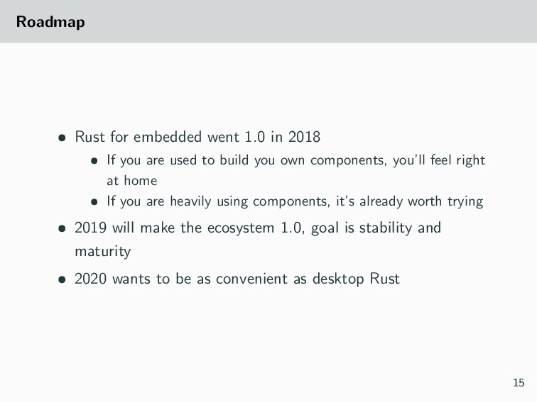 Roadmap • Rust for embedded went 1.0 in 2018 • ...