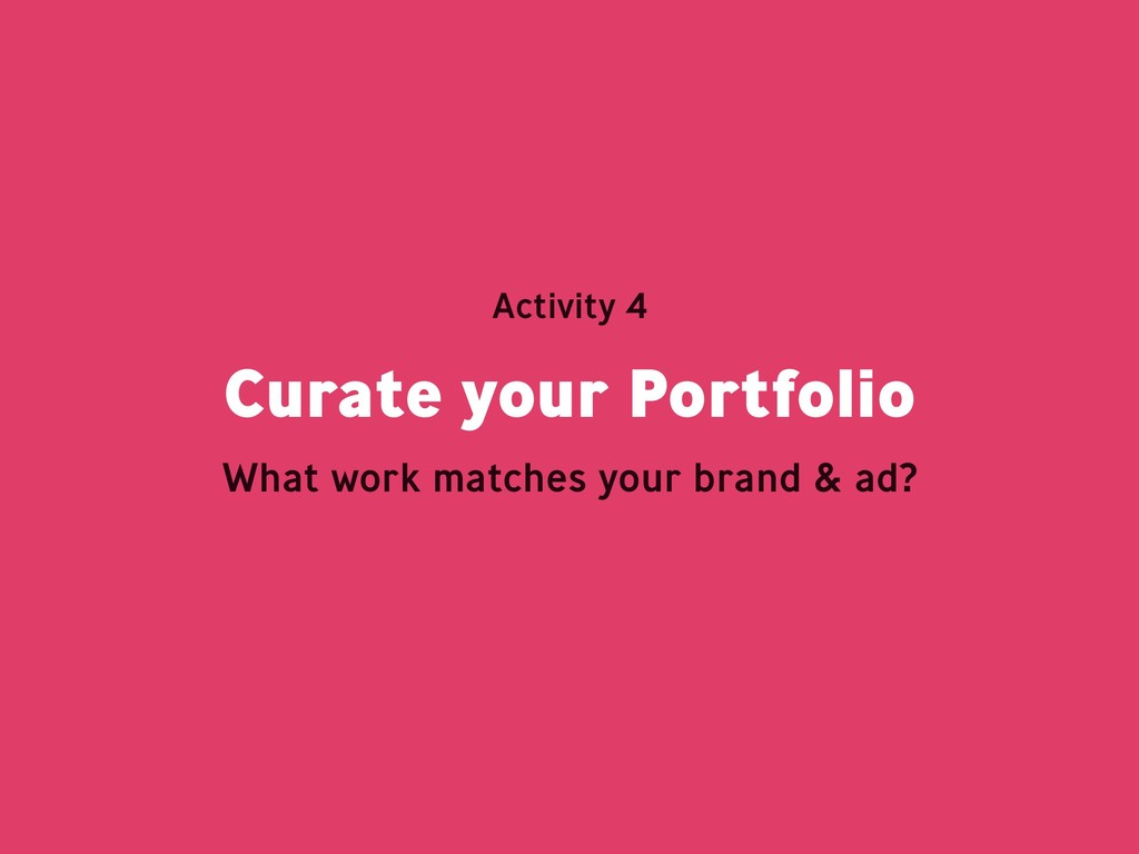 Curate your Portfolio Activity 4 What work matc...